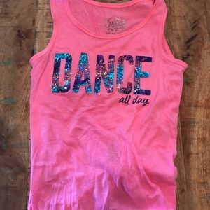 "Justice Hot Pink Sequin ""Dance All Day"" Tie Tank"
